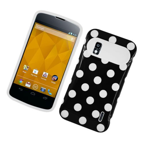 Insten Night Glow Polka Dots Hard Jelly Silicone Case For LG Google Nexus 4 E960, Black/White