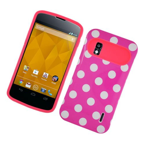 Insten Night Glow Polka Dots Hard Jelly Silicone Cover Case For LG Google Nexus 4 E960, Hot Pink