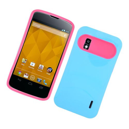 Insten Night Glow Hard Jelly Silicone Case For LG Google Nexus 4 E960, Blue/Hot Pink