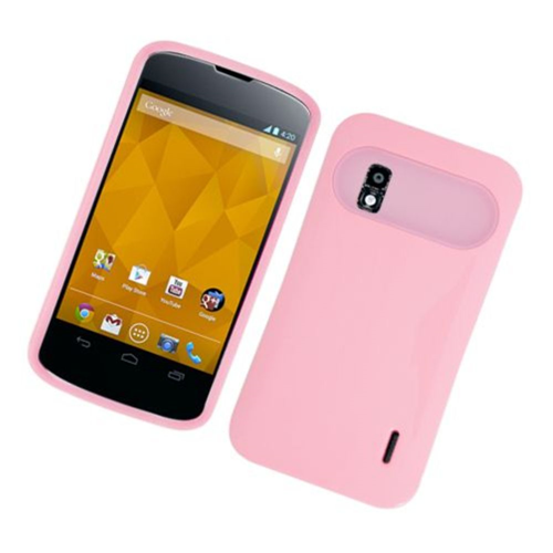Insten Night Glow Hard Jelly Silicone Cover Case For LG Google Nexus 4 E960, Pink