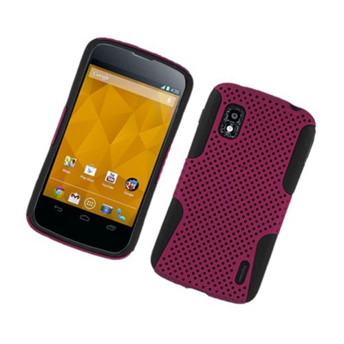 Insten Mesh Hard Dual Layer TPU Case For LG Google Nexus 4 E960, Hot Pink/Black