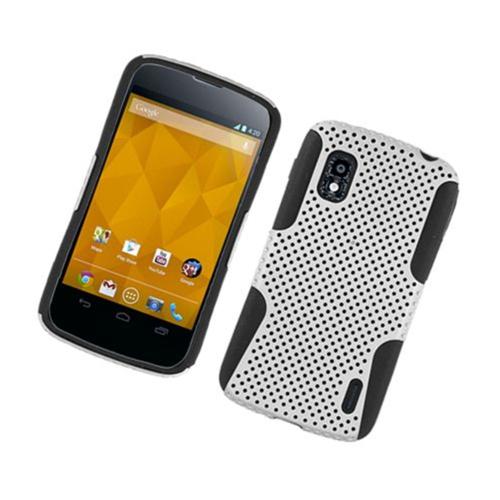 Insten Mesh Hard Dual Layer TPU Cover Case For LG Google Nexus 4 E960, White/Black