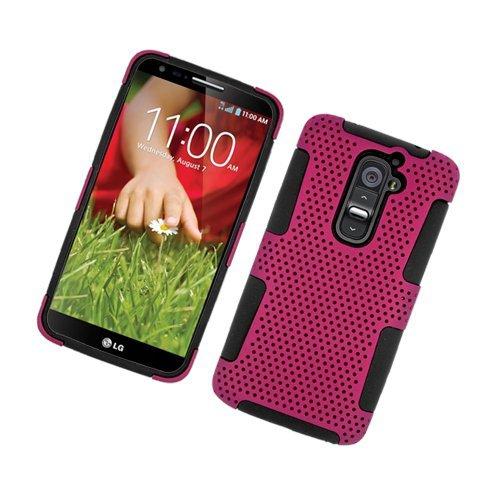 Insten Mesh Hard Hybrid TPU Case For LG G2 D801 T-Mobile/G2 LS980 Sprint, Hot Pink/Black