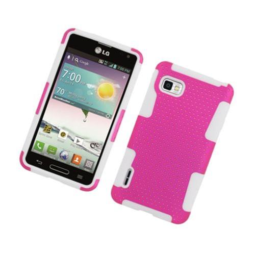 Insten Mesh Hard Hybrid TPU Case For LG Optimus F3 LS720, Hot Pink/White