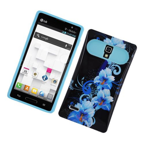Insten Night Glow Flowers Hard Jelly Silicone Case For LG Optimus L9 P769, Black/Blue