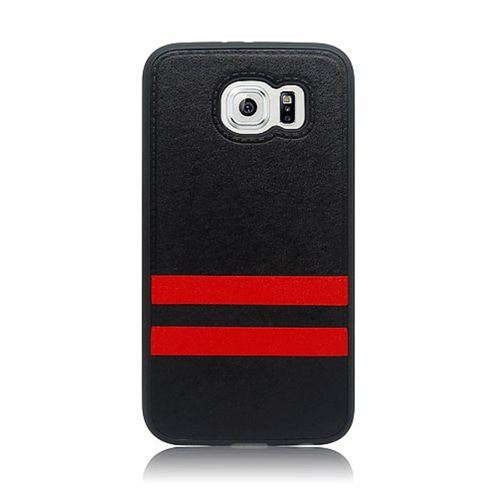 Insten Stripes Hard Plastic TPU Cover Case For Samsung Galaxy S6, Black/Red