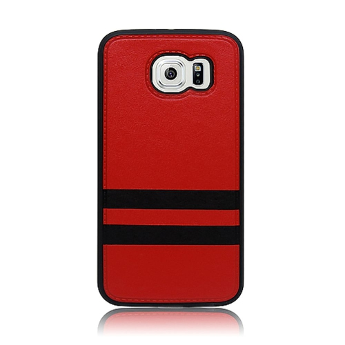 Insten Stripes Hard Plastic TPU Case For Samsung Galaxy S6, Red/Black