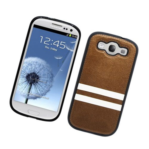 Insten Stripes Hard Plastic TPU Case For Samsung Galaxy S3, Brown/White