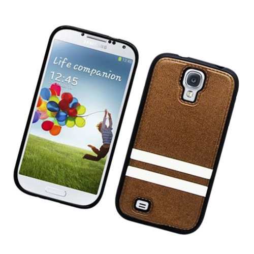 Insten Stripes Hard Plastic TPU Case For Samsung Galaxy S4, Brown/White