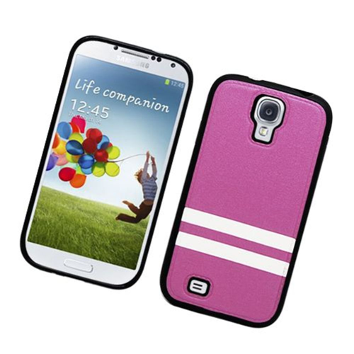 Insten Stripes Hard Plastic TPU Cover Case For Samsung Galaxy S4, Purple/White