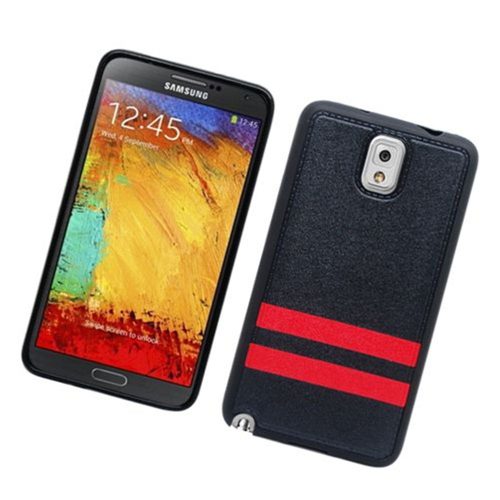 Insten Stripes Hard Plastic TPU Cover Case For Samsung Galaxy Note 3, Black/Red