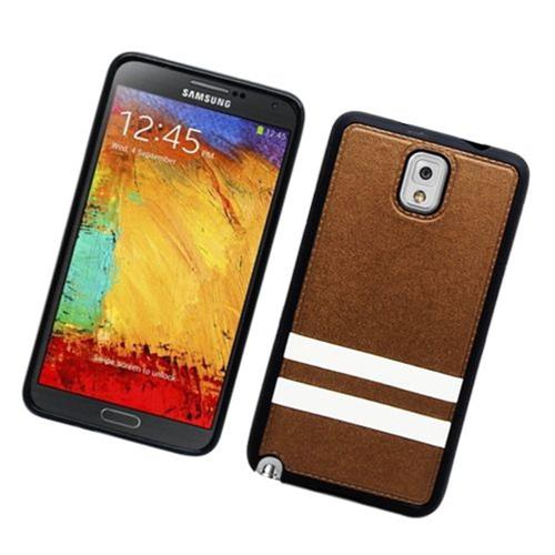 Insten Stripes Hard Plastic TPU Case For Samsung Galaxy Note 3, Brown/White
