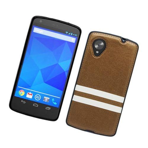 Insten Stripes Hard Plastic TPU Cover Case For LG Google Nexus 5 D820, Brown/White