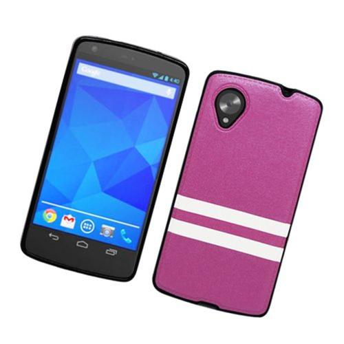 Insten Stripes Hard Plastic TPU Cover Case For LG Google Nexus 5 D820, Purple/White