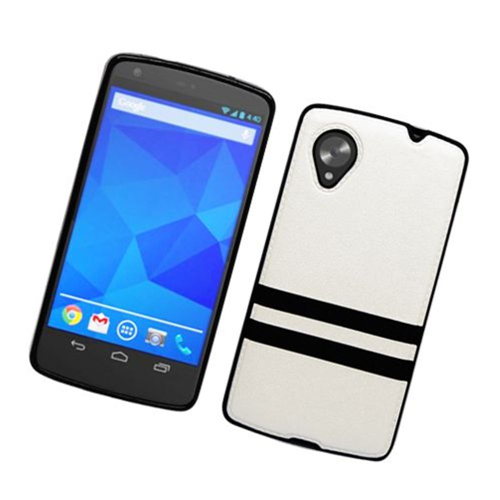 Insten Stripes Hard Plastic TPU Case For LG Google Nexus 5 D820, White/Black