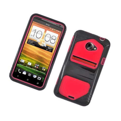 Insten Hard Dual Layer Plastic Case For HTC EVO 4G LTE, Black/Red
