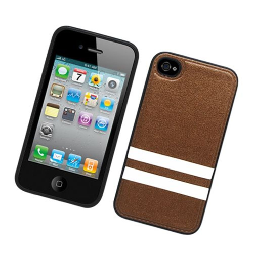 Insten Stripes Hard Plastic TPU Cover Case For Apple iPhone 4/4S, Brown/White