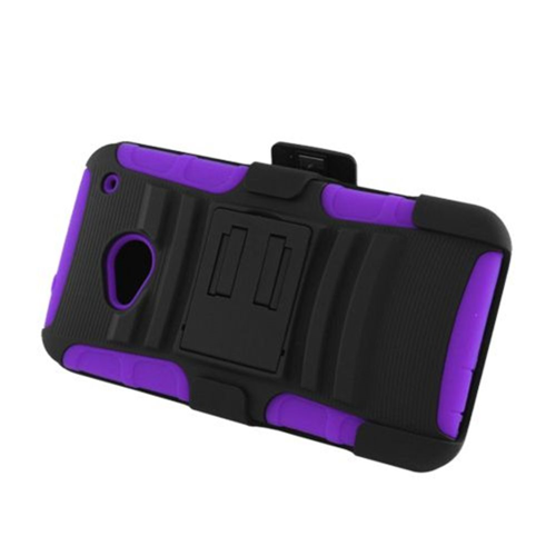 Insten Armor Hard Dual Layer Plastic Silicone Case w/stand/Holster For HTC One M7, Black/Purple