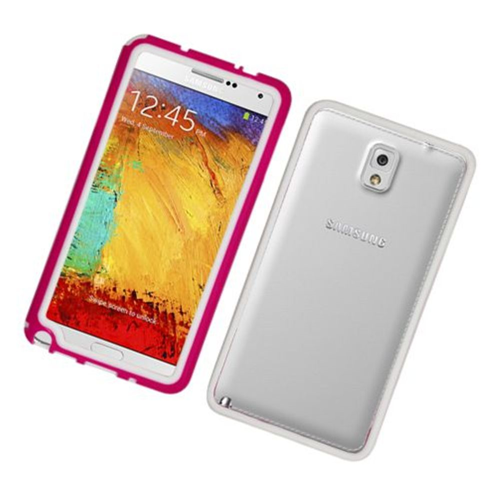 Insten TPU Bumper For Samsung Galaxy Note 3, Hot Pink/White