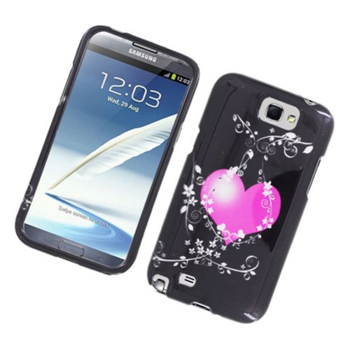 Insten Flowery Heart Hard Cover Case For Samsung Galaxy Note II, Black/Hot Pink