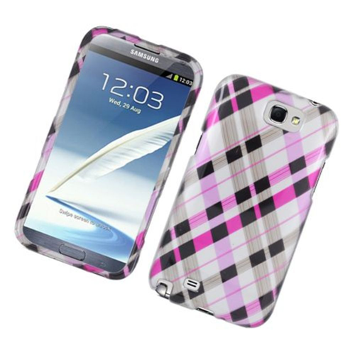 Insten Checker Hard Cover Case For Samsung Galaxy Note II, Pink/Black
