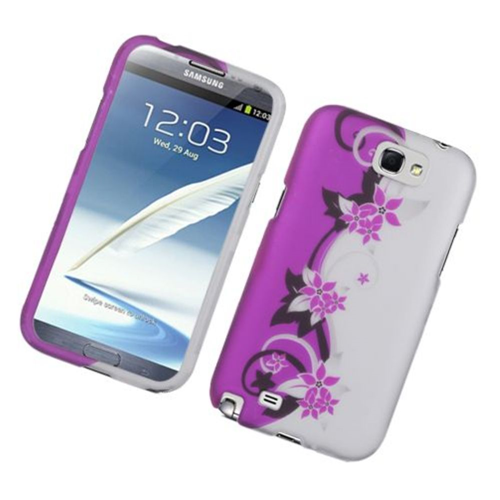 Insten Vine Flower Hard Rubber Coated Cover Case For Samsung Galaxy Note II, Hot Pink/Silver