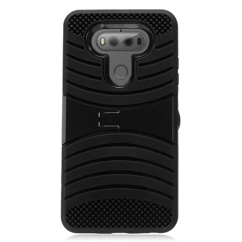 Insten Wave Symbiosis Rubber Hard Case w/stand For LG V20, Black