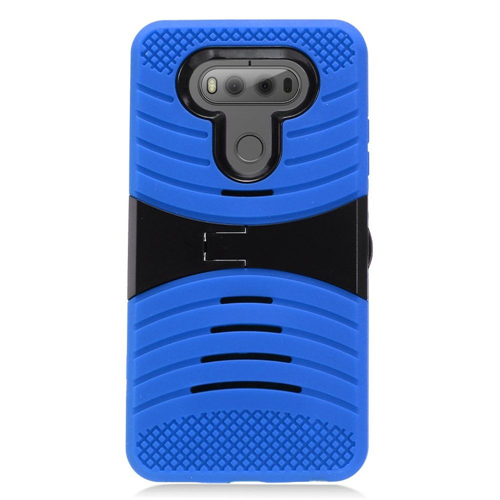 Insten Wave Symbiosis Rubber Hard Case w/stand For LG V20, Blue/Black