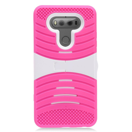 Insten Wave Symbiosis Silicone Rubber Hard Cover Case w/stand For LG V20, Hot Pink/White