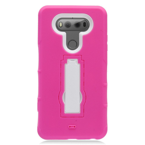 Insten Symbiosis Soft Rubber Hard Cover Case w/stand For LG V20, Hot Pink/White