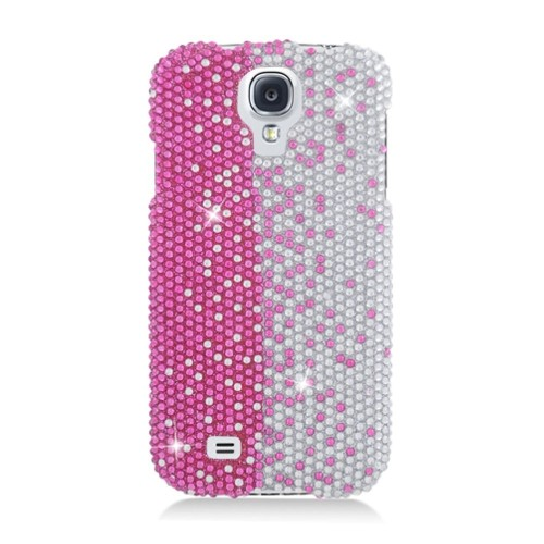 Insten Hard Diamond Cover Case For Samsung Galaxy S4, Pink/Silver