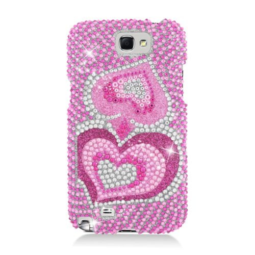 Insten Hearts Hard Rhinestone Case For Samsung Galaxy Note II, Pink