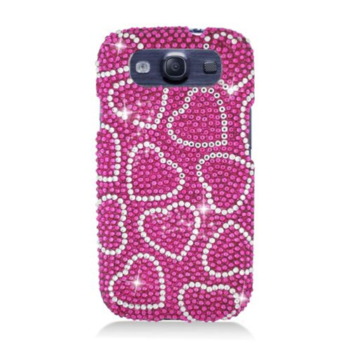 Insten Hearts Hard Rhinestone Case For Samsung Galaxy S3, Pink
