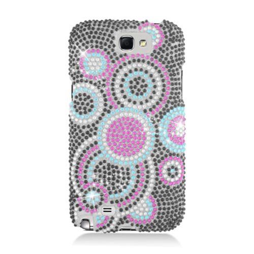 Insten Circles Hard Rhinestone Case For Samsung Galaxy Note II, Black/Pink