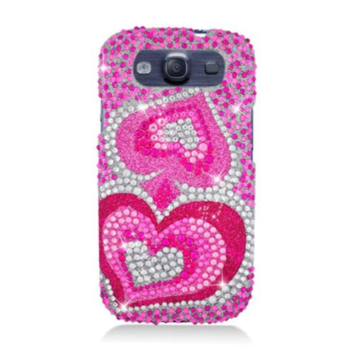 Insten Hearts Hard Rhinestone Case For Samsung Galaxy S3, Pink