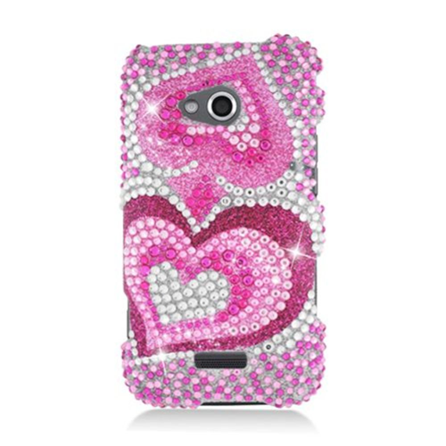 Insten Hearts Hard Diamond Cover Case For Samsung Galaxy Victory 4G LTE, Pink