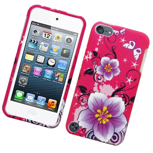 Insten Flowers Hard Rubberized Case For Apple iPod Touch 5th Gen, Hot Pink/Purple