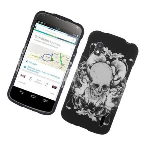 Insten Skull Hard Rubberized Cover Case For LG Google Nexus 4 E960, Black/White