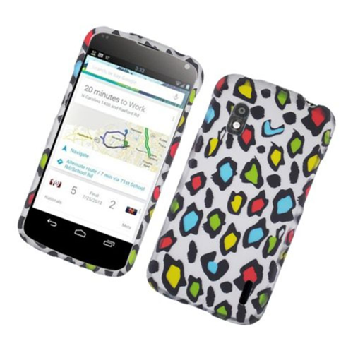Insten Leopard Hard Rubberized Cover Case For LG Google Nexus 4 E960, Multi-Color