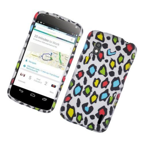 Insten Leopard Hard Rubberized Cover Case For LG Google Nexus 4 E960, Multi-Color