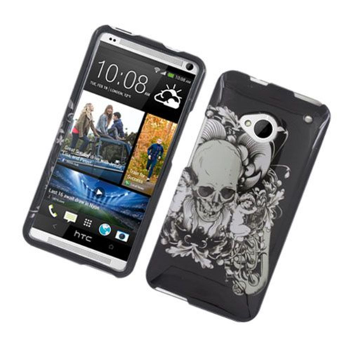 Insten Skull Hard Cover Case For HTC One M7, Black/White