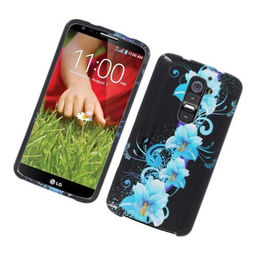 Insten Flowers Hard Cover Case For LG G2 D800 AT&T, Black/Blue