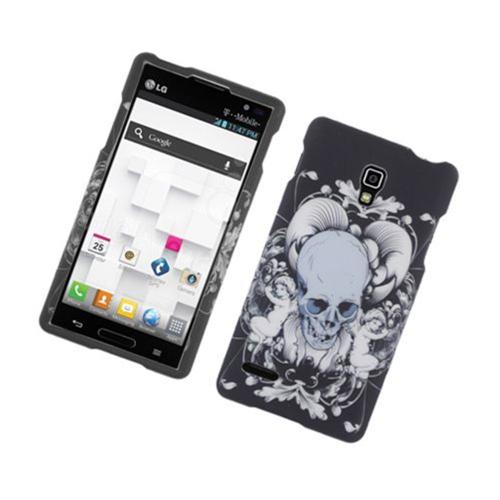 Insten Skull Hard Rubberized Cover Case For LG Optimus L9 P769, Black/White