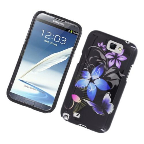 Insten Butterfly Hard Cover Case For Samsung Galaxy Note II, Black/Purple