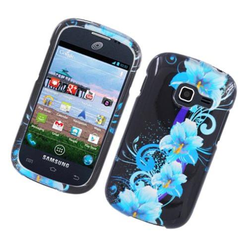 Insten Flowers Hard Cover Case For Samsung Galaxy Centura, Black/Blue