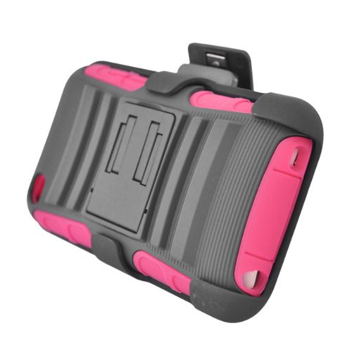 Insten Armor HardPlastic Silicone Case w/stand/Holster For Apple iPod Touch 4th Gen, Gray/Hot Pink