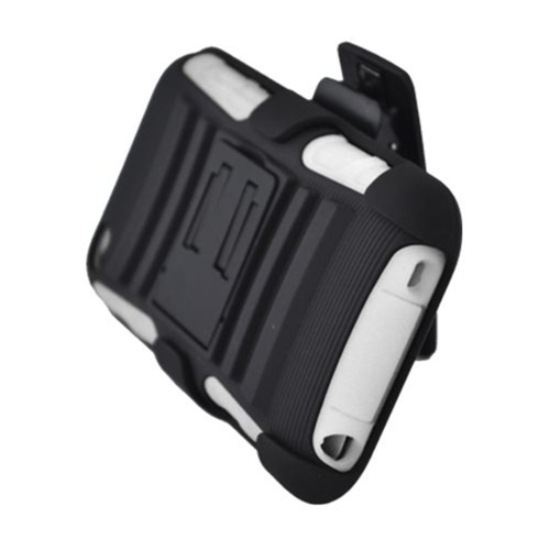 Insten Armor Hard Hybrid Silicone Case w/stand/Holster For Apple iPod Touch 4th Gen, Black/White