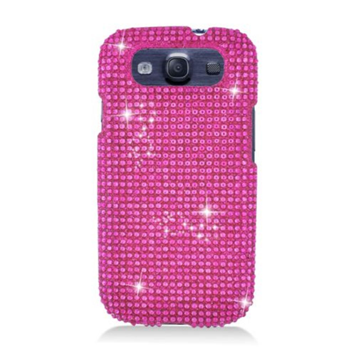 Insten Hard 3D Bling Cover Case For Samsung Galaxy S3, Hot Pink