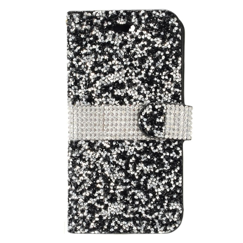 Insten Book-Style Leather Bling Case w/card holder For HTC Desire 530, Black/Silver