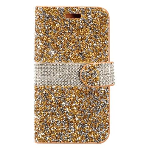 Insten Flip Leather Bling Case w/card holder For HTC Desire 530, Gold/Silver